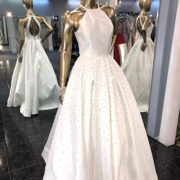 2019 Halter Long Prom Dress with Pearls,Gorgeous Evening Dress White, A Line White Prom Dress Ball Gown with Keyhole Back,Formal Elegant White Satin Dress