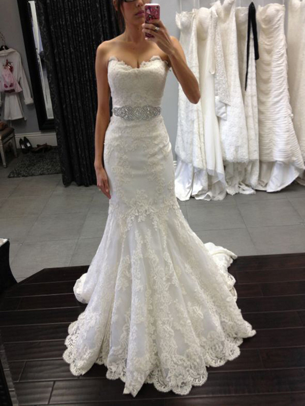 976da6457da0 Custom Made White Strapless Sweetheart Neck Lace Mermaid Wedding Dress With Beaded  Sash on Luulla