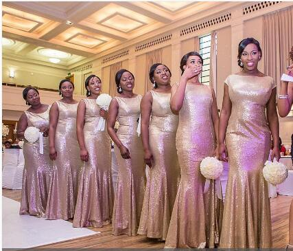F67 Gold Sequin Bridesmaid Dresses Mermaid Long