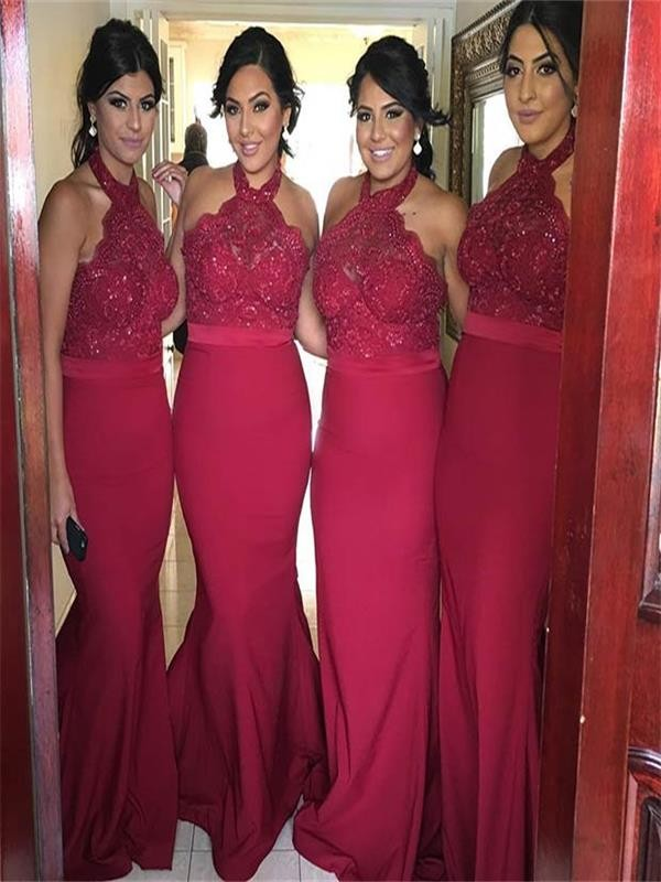 4641bc485df F69 Red Mermaid Bridesmaid Dresses
