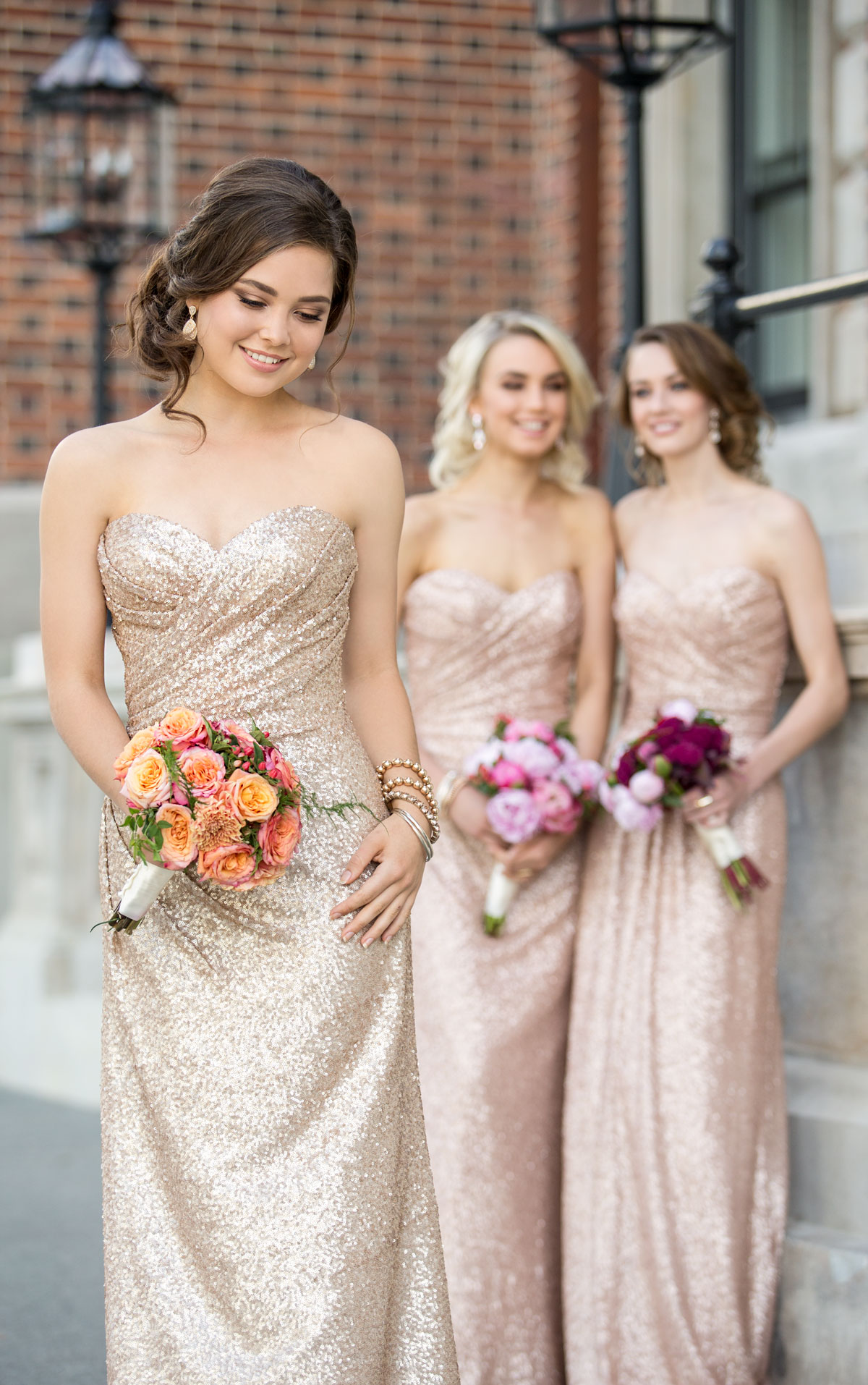 Long Rose Gold Bridesmaids Dresses