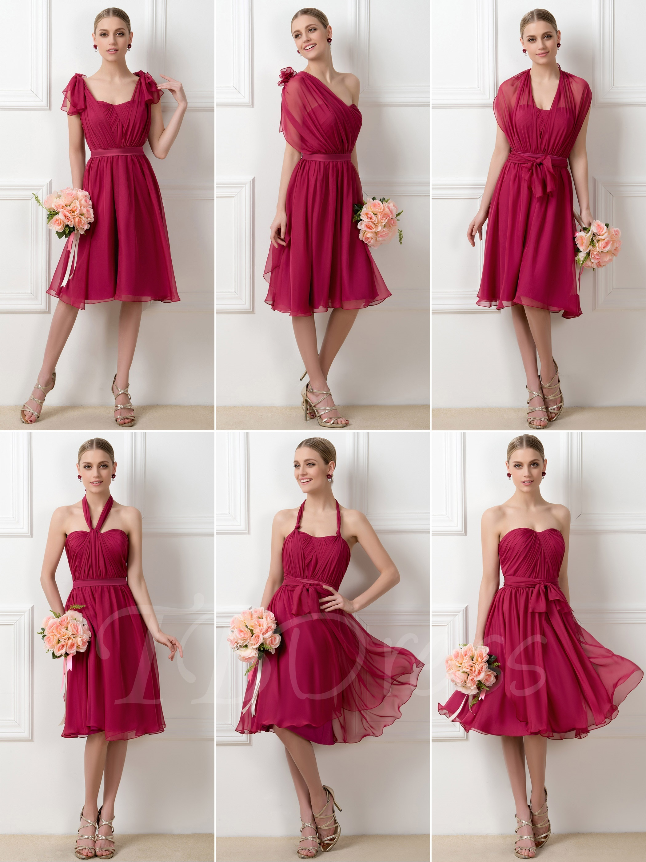 aaefda00fae03 F170 A-Line Tea-Length Convertible Short Bridesmaid Dress,Short Bridesmaid  Dress on Luulla
