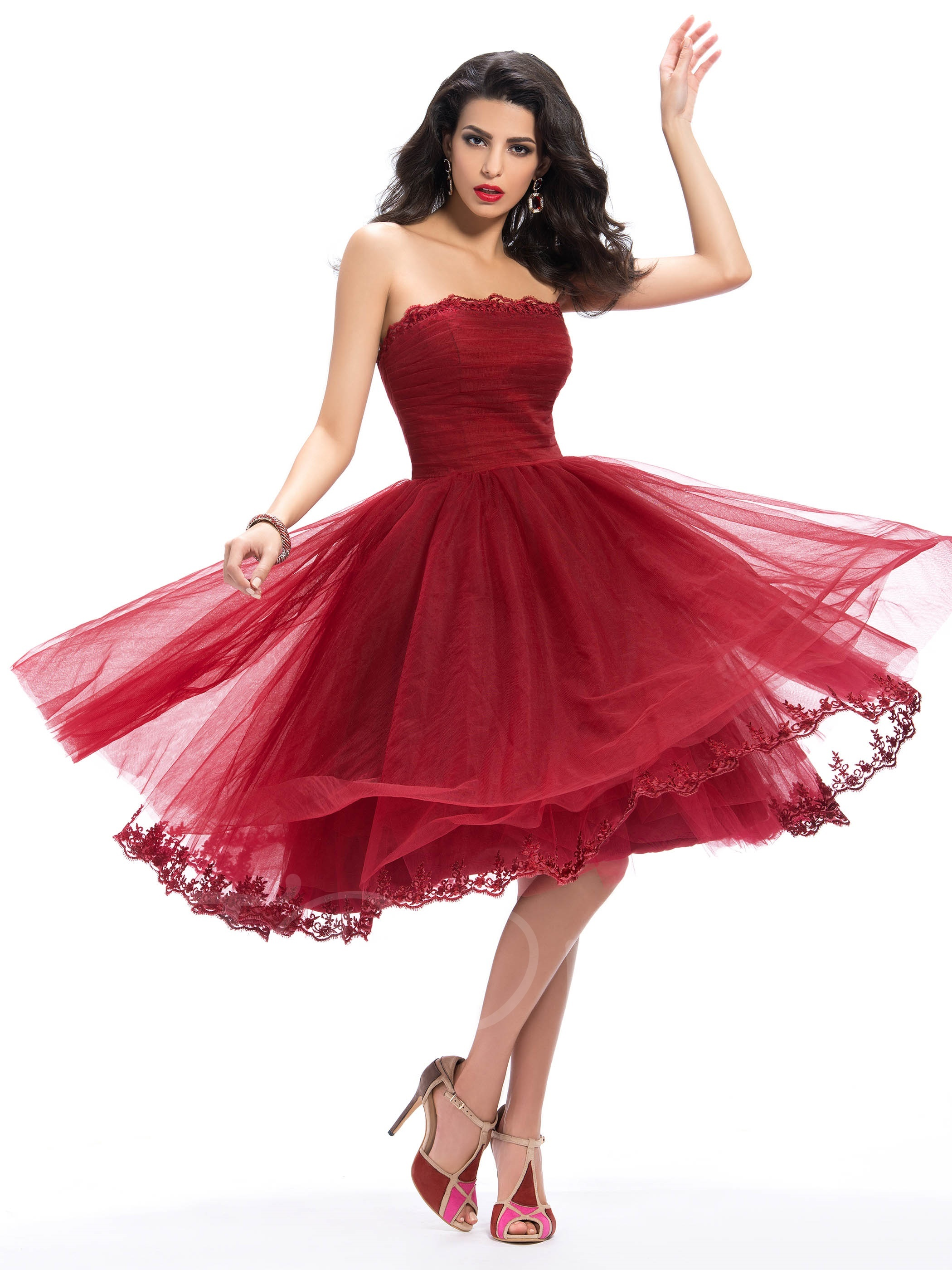 383b7a7387 F183 Glamourous Strapless Appliques A-Line Tea-Length Homecoming Dress on  Luulla