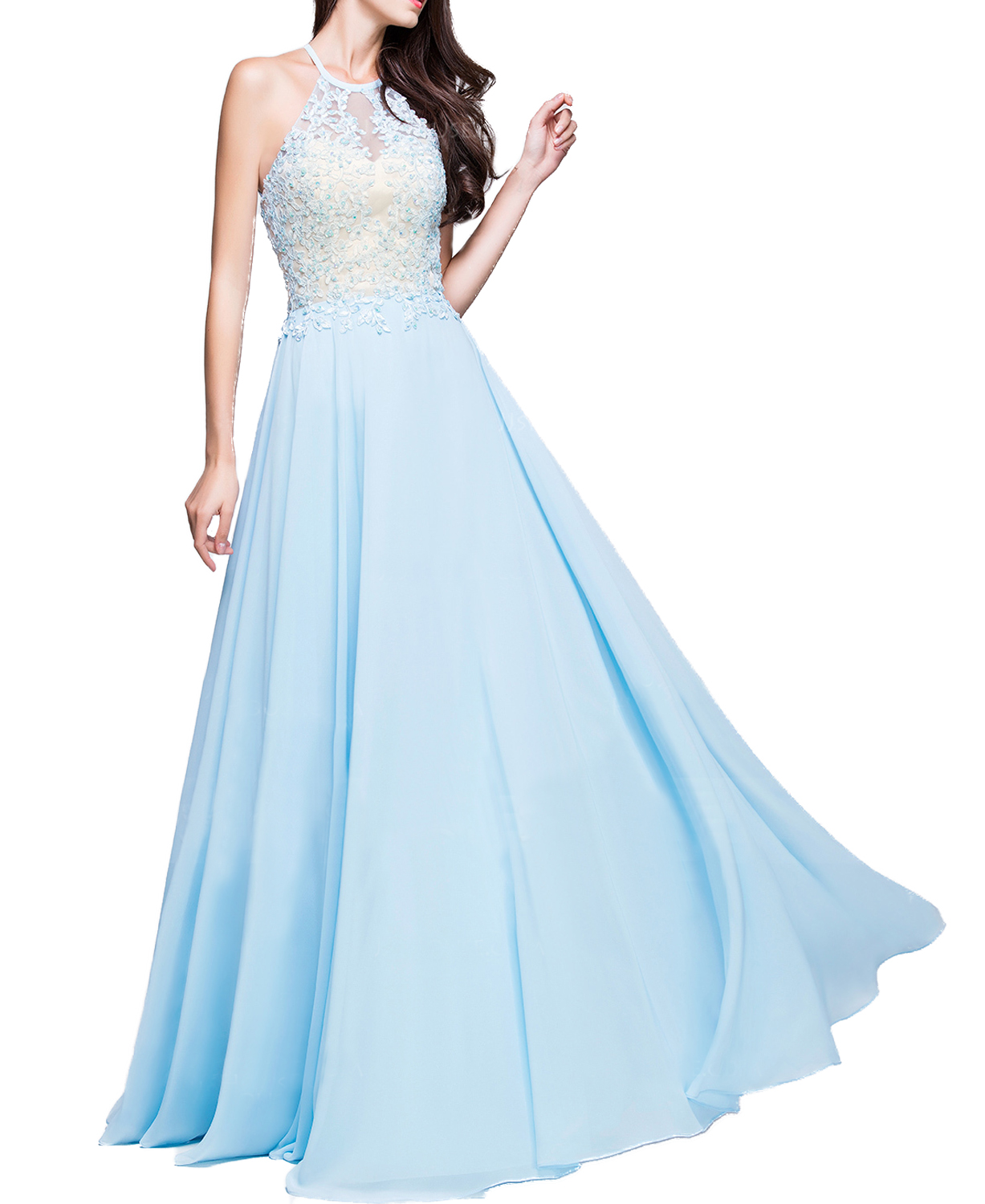 14d7cd42eea A-Line Princess Scoop Neck Floor-Length Chiffon Prom Dress With Beading  Appliques Lace Sequins
