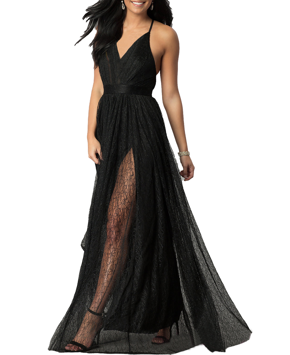 90a36d9ee6e X1 Sexy A Line Long Lace Backless Simple Black Evening Dress