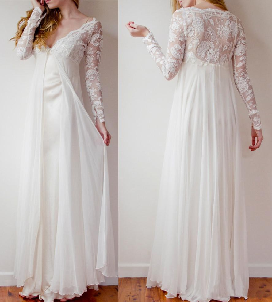 cc2434633e1 W1050 High Low Long Lace Chiffon Ivory Beach Wedding Dresses ...