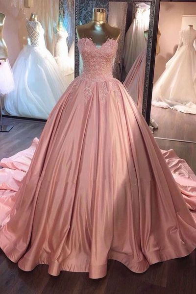 0406048476 F708 Sweetheart Lace Appliques Pink Satin Long Strapless A-line Prom Dress